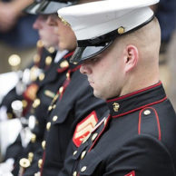 Marine Soldiers Praying with Eyes Closed